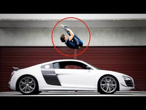 Tiger Shroff Amazing Backflip Over Speeding Sport Car