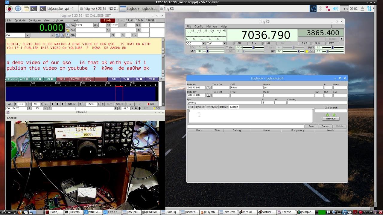 Raspberry PI CW KEYER - CW Keyboard, Rig control & Log book- all with FLdigi