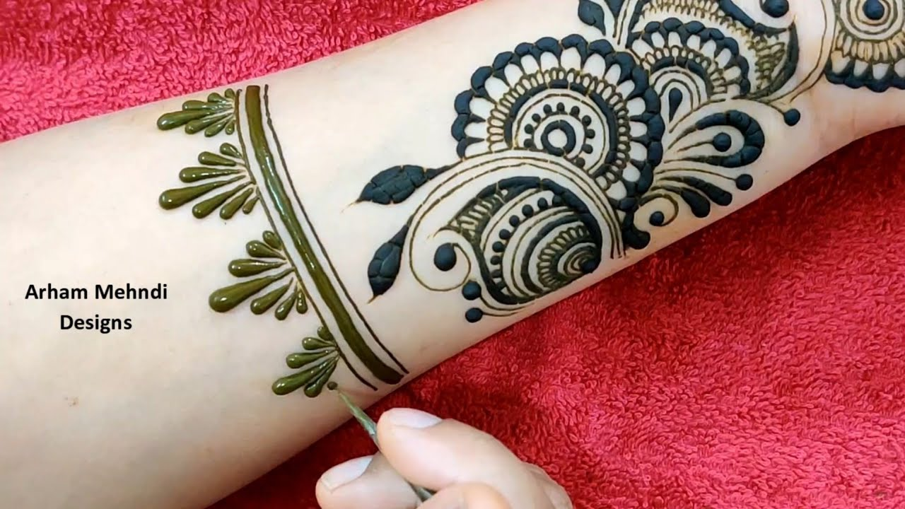 New Stylish Arabic Mehndi Design || Easy Simple Mehndi Design for Front Hand || Arham Mehndi Designs