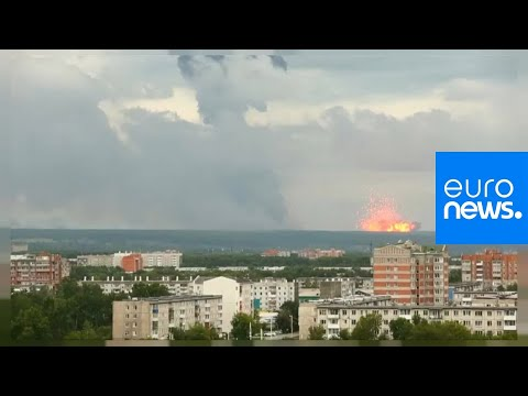 Spectacular explosions after fire at Russian arms depot in S