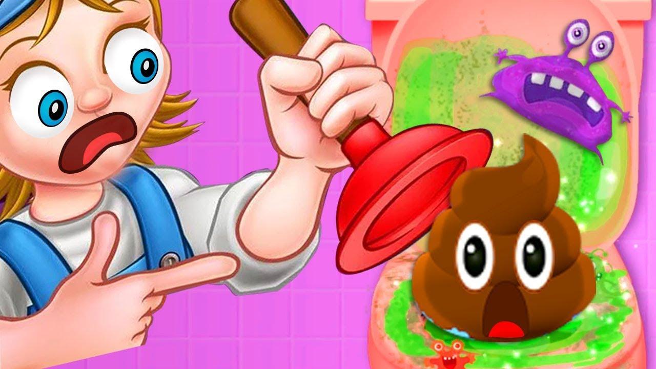 Clean up bathroom games - Bathroom Clean Up 2 Learn How To Keep The Toilet Clean Fun Kids Games