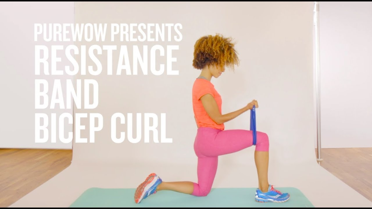 How To Do A Bicep Curl With A Resistance Band Youtube