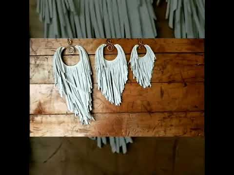 My Latifah Hand-cut Suede Fringe Hoop Earrings ~ Now Available in 3 Sizes ~ Quick Product Video