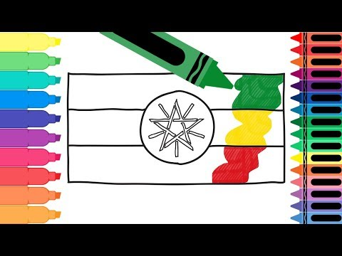 How to Draw Ethiopia Flag - Drawing the Ethiopian Flag - Coloring Pages for kids   Tanimated Toys