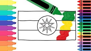 How to Draw Ethiopia Flag - Drawing the Ethiopian Flag - Coloring Pages for kids | Tanimated Toys