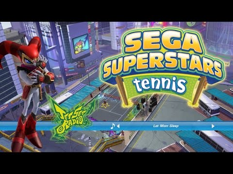 Sega SuperStars Tennis Reala and Shadow vs Nights and Sonic Doubles (Jet Set Radio)