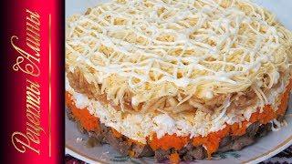 Печеночный салат.Вкусный праздничный салат. Рецепты Алины.