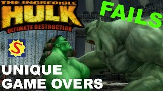 All Unique Game Overs & Fails - Hulk Ultimate Destruction