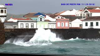 O Mau Tempo e a Baía de Porto Pim, na ilha do Faial, Açores (11-10-2018)
