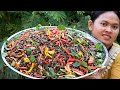 Yummy Mixed Cricket Fry Rice Powder Spicy Chilies Salad Recipe - Cooking Rural Foods