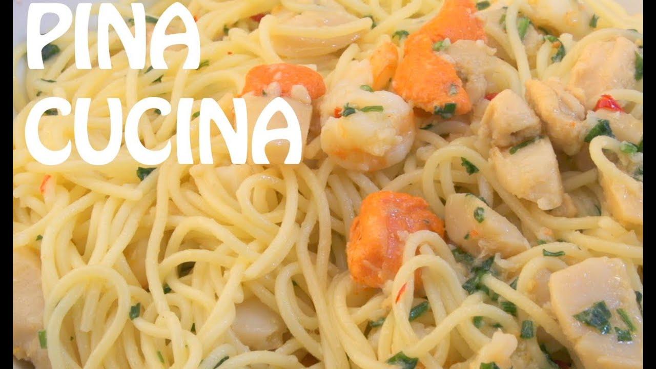 Spaghetti in White Wine Sauce Marinara Bianca  Pina