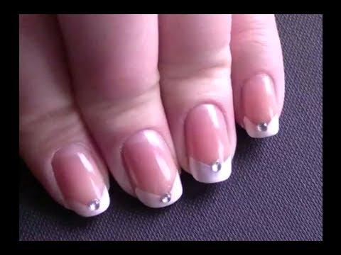 V Shaped Jewelled French Manicure Youtube