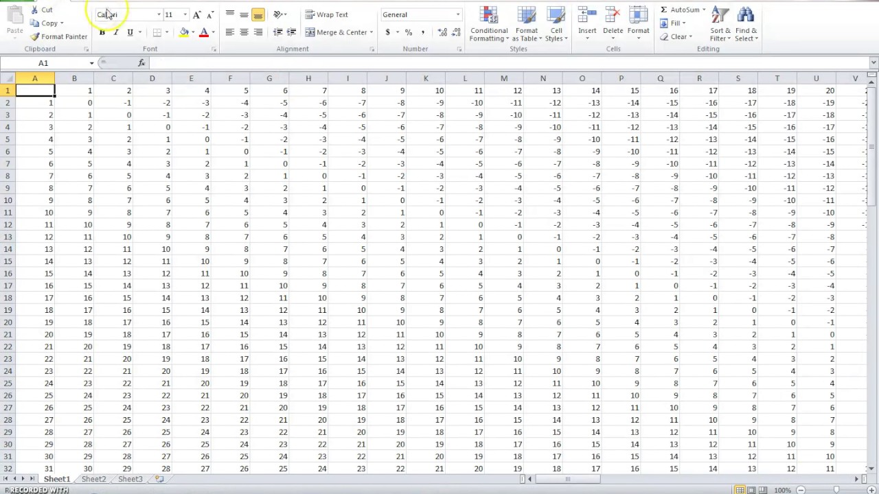 How To Create an Subtraction Table in Microsoft Excel YouTube – Subtraction Table