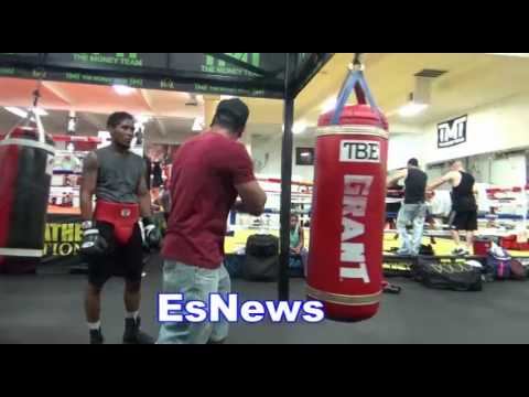 Boxing Star Thomas Hill Working Out Mayweather Boxing Club Es Boxing