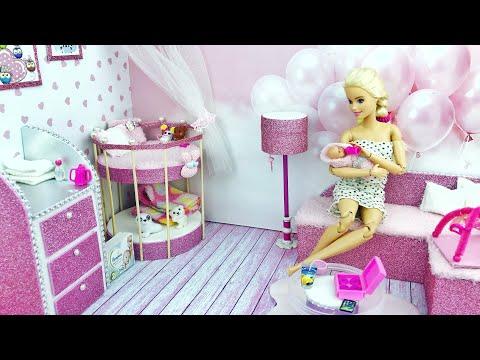 DIY Miniature Barbie Dollhouse ❤️ Nursery Room (Lamp, Baby bed, sofa, diapers ets)