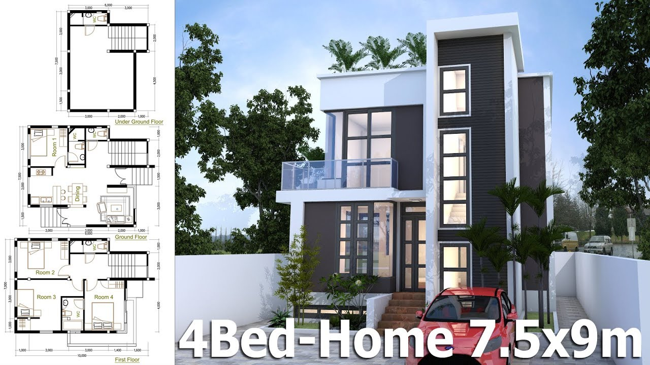 2 Bedroom Home Designs. SketchUp Home Plan 7 5x9m With 4 Bedroom design Idea  YouTube