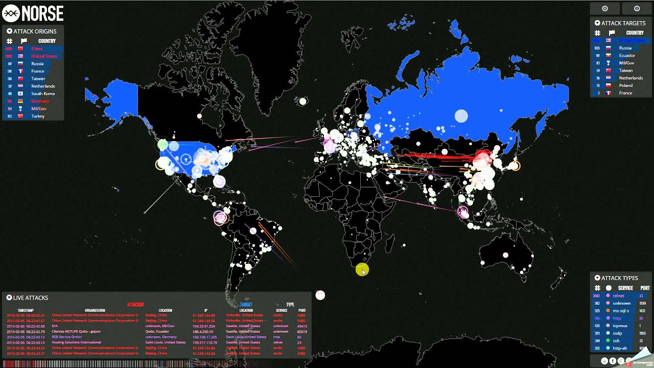 Live Graphical Map of Internet Attacks Around the World