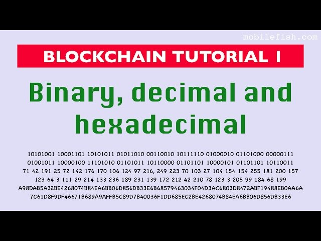 Blockchain tutorial 1: Binary, decimal and hexadecimal numbers