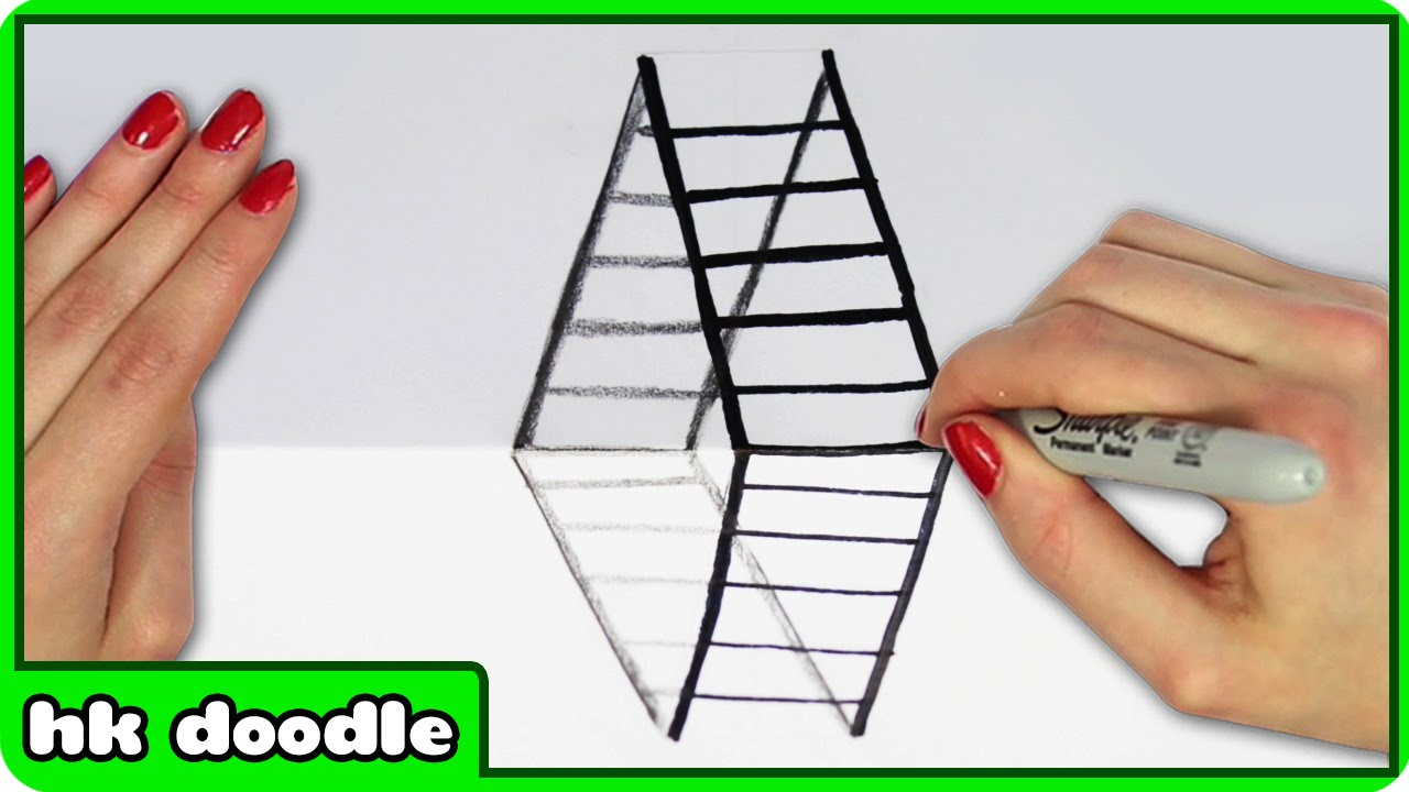 optical step drawing illusions illusion draw 3d ladder tutorial doodle getdrawings