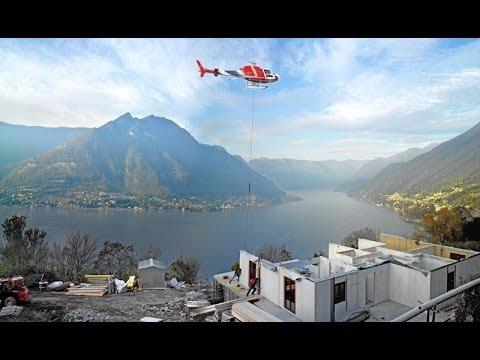 Wolf Haus costruisce una casa utilizzando l'elicottero