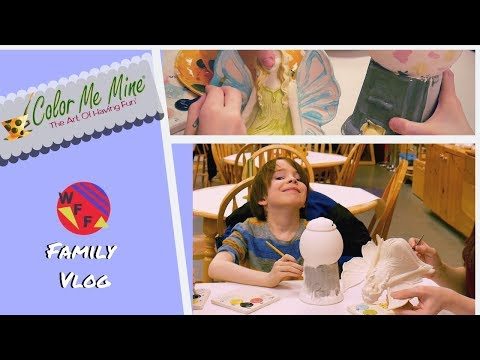 Family Pottery Painting Trip To Color Me Mine - Weeefamfun Family Vlog