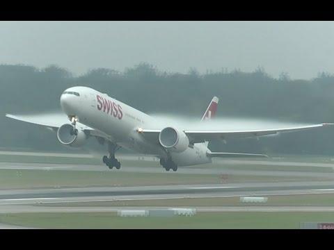 Spectacular condensation takeoffs at Zurich Airport