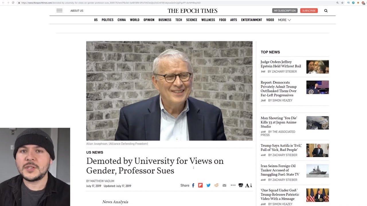 "Professor Rejects ""Transgender Ideology,"" Gets Forced Out Of University Job"