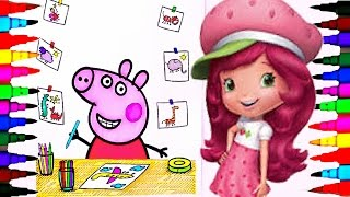 Peppa Pig Art Class BEST LEARNING Coloring Book l Pages for Children Learning Rainbow Colors Videos