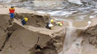 Dam breach:  lego men in danger by the flood...