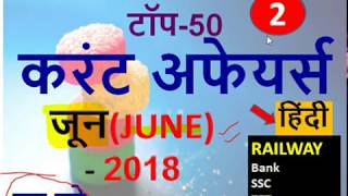 JUNE 2018 Current Affairs in Hindi   Important Current Affairs 2018  Latest Current Affairs Quiz