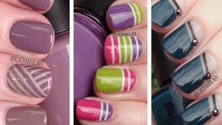 3 Striping Tape Easy Nail Art Designs | Nail Art For Beginners | ArcadiaNailArt