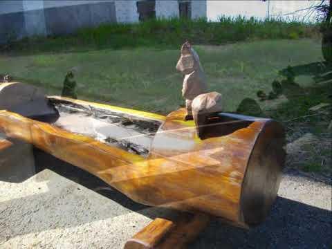 Fioriere nei tronchi youtube for Fontane in legno