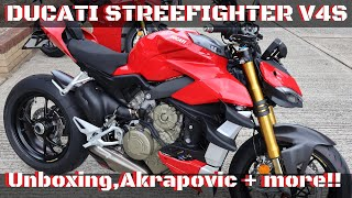Ducati Streetfighter V4s Unboxing & Build Akrapovic Road legal Exhaust, single seat,carbon parts