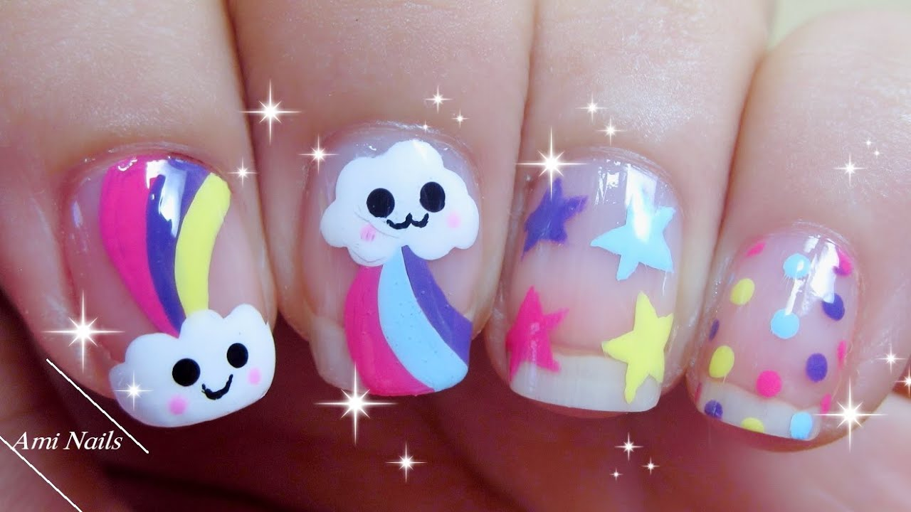 Nail Art Kawaii: ☁ Cloud Rainbow & Star Nail Art | 愛らしいです ...