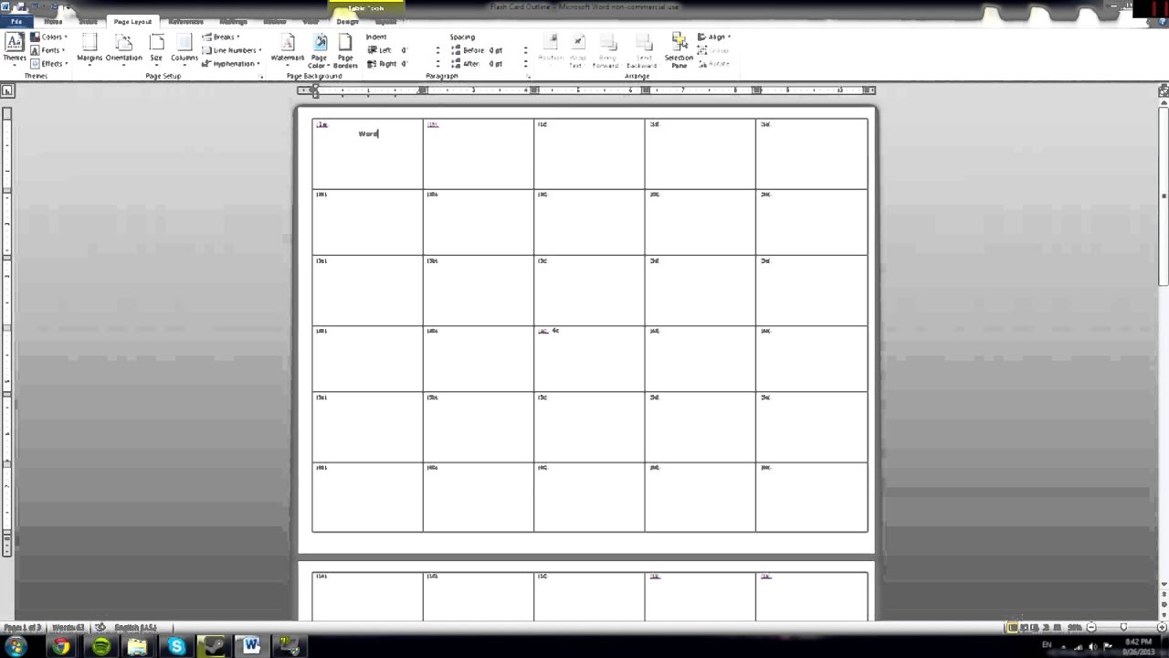 make note cards in word