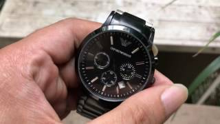 hindi   emporio armani analog black men s watch ar2460   unboxing video
