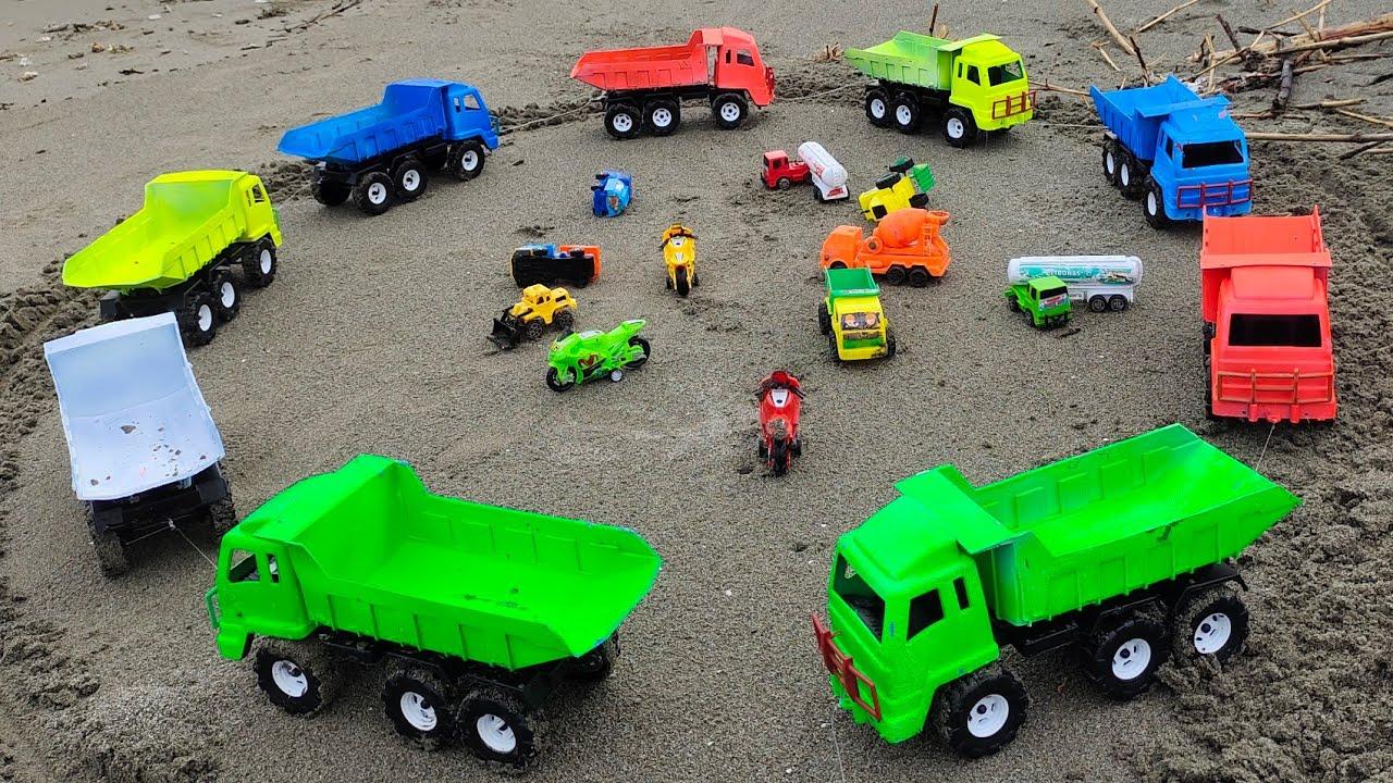 Mobil Tronton Muat Motor Balap, Truk Tangki, Mobil Beko, Doser, Truk Pasir, Excavator, Dump Truk
