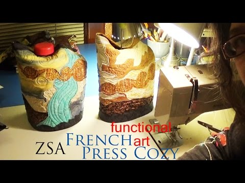 French Press Cozy functional art entirely by machine | ZSA Advanced Gift Project Tutorial