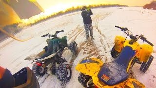 Snow + quad bikes - Winter riding on atvs - Zima + Snieg + Quady