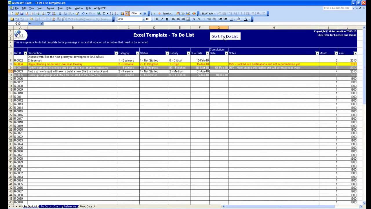 Free Excel Template - To Do List - YouTube