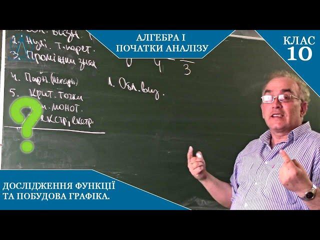 10 клас. Алгебра. Дослідження за допомогою похідної на монотонність та екстремуми.