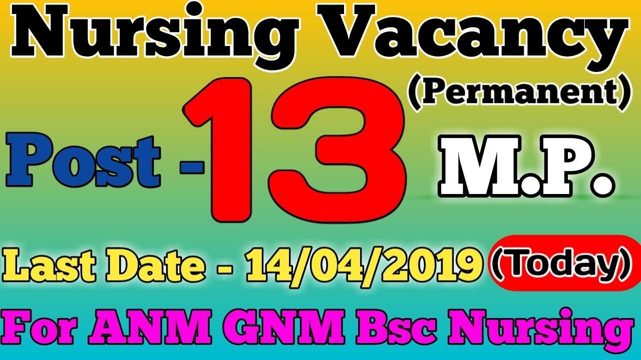 Permanent Nursing Recruitment For ANM GNM & Bsc Nursing In M P     Today  Last Date
