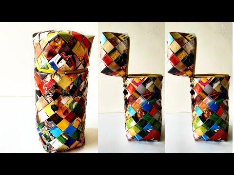 How to make a magazine basket ||  Paper woven || Magazine recycling || IRIS Craft corner 28