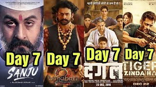Sanju 7th Day Vs Baahubali 2 Vs Dangal Vs Tiger Zinda Hai Box Office Collection Video