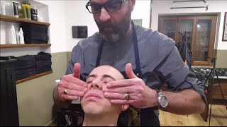 Traditional Italian Barber Shave with Hot Towel and face Massage - ASMR no talking