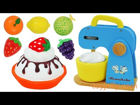 Learn Fruits Vegetables Velcro Wooden Blender Baby Toys Play Doh Cream Chocolate Strawberry Cake