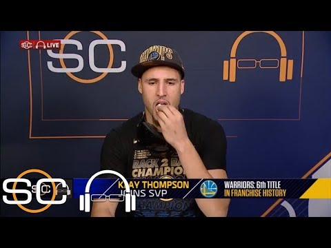Klay Thompson joins SportsCenter to eat popcorn and celebrate third NBA title | SC with SVP | ESPN