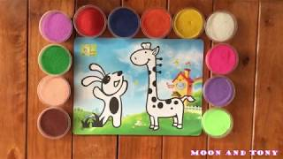 Color sand painting animals     Moon and Tony