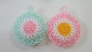 코바늘 수세미/초보용 그물꽃수세미  Crochet Fl…