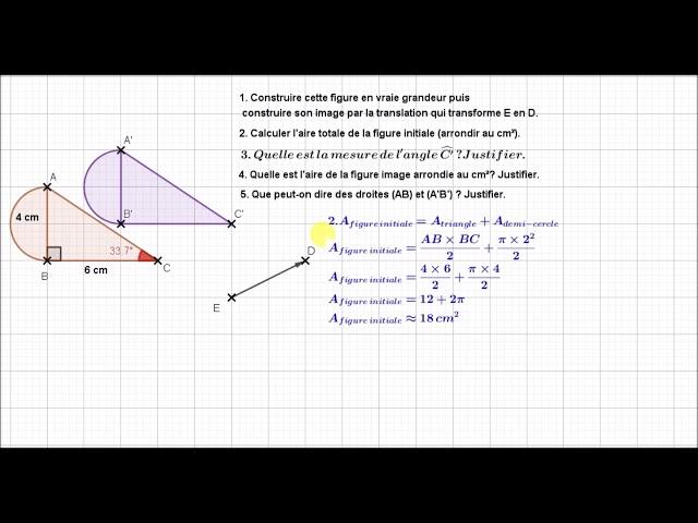 TRANSLATION et Propriétés : Exercices Maths 4ème et 3ème.